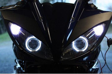 2004 - 2011 Yamaha FZ6 HID BiXenon Projector kit angel eyes halo - No Cut