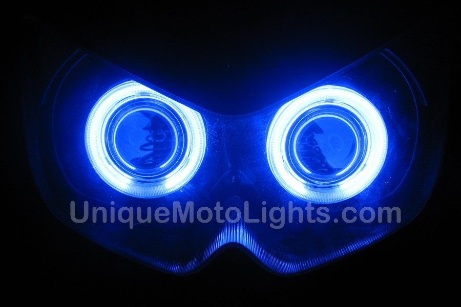 Kawasaki Ninja 250 250R projector headlight halo blue front2 900x600 2008 kawasaki ninja 650 650r hid bixenon projector kit with angel Wiring Harness Diagram at soozxer.org