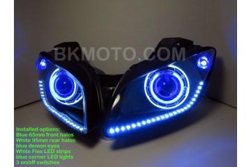 2008 - 2013 Yamaha R15 V1 V2 HID BiXenon Projector headlights kit with angel eyes halo