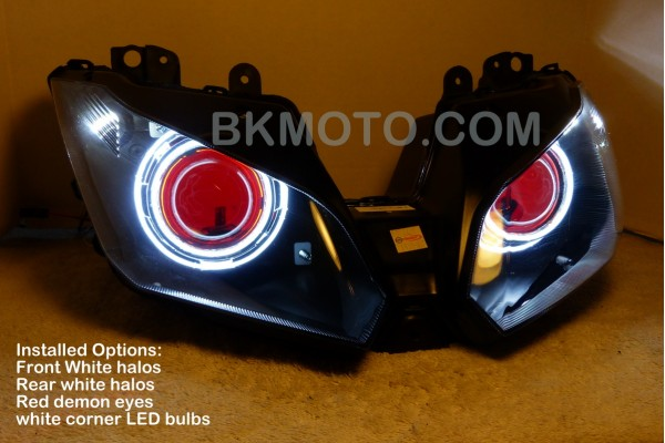 Bkmoto 2013 Zx6r 636 Hid Projector Dual Headlights Halo